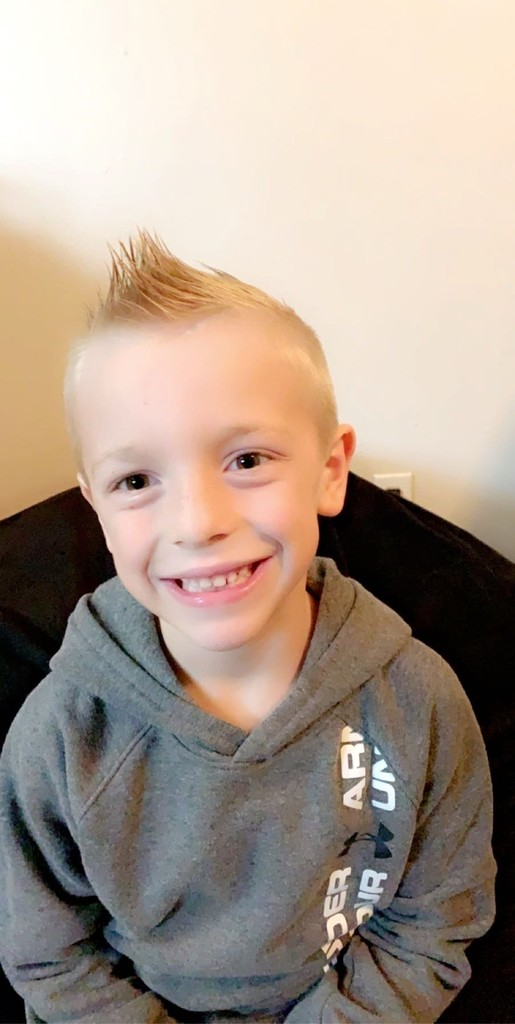 Landon with a sweet mohawk!